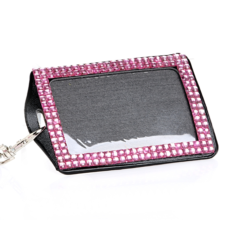 New Resin Diamond Bling Neck Lanyard Retractable ID Badge And Photo Key Holder