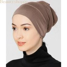 2020 weichen modal inneren Hijab Caps Muslimischen stretch Turban kappe Islamischen Underscarf Motorhaube hut weibliche stirnband rohr kappe turbante mujer cheap Dromiya NONE CN (Herkunft) Plain Hijabs Mode Erwachsene Gesponnen BD222