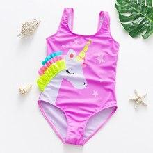 Bañador con estampado de arco iris para niña de 2 a 16 años, traje de baño de una pieza de talla grande, ropa de baño para niña 2021