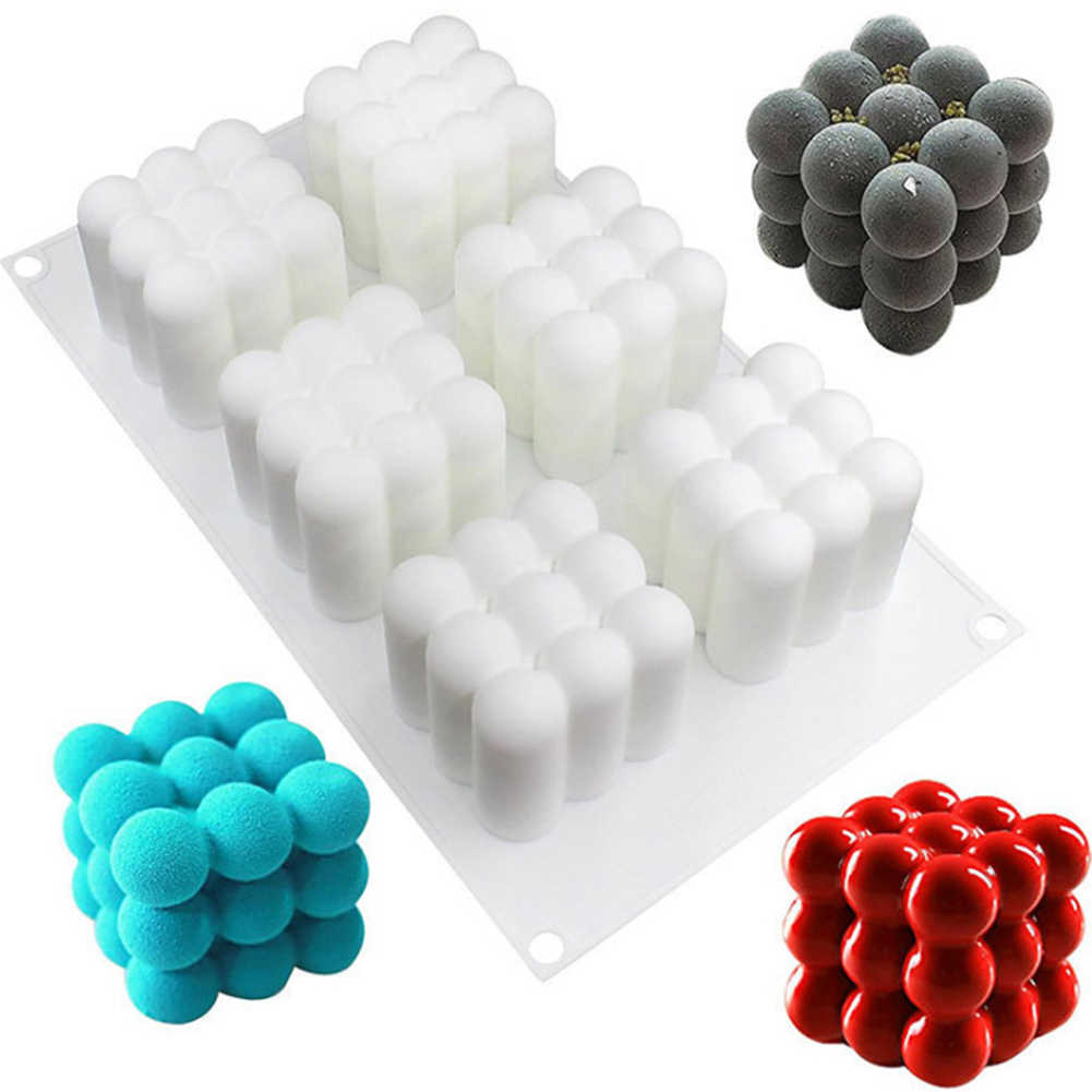 HomeBuy Candle Moulds for Candle Making Silicone 3D Cube Shaped Ball Mold DIY Candles Mould 3D Ball Cube Silicone for Handcraft Ornaments Fondant Scented Candle Soy Wax Handmade Soap