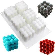 6 Holtes Siliconen Kaars Schimmel 3D Cube Vierkante Bubble Diy Non-stick Keuken Dessert Cake Tray Oven Veilig Cake mallen