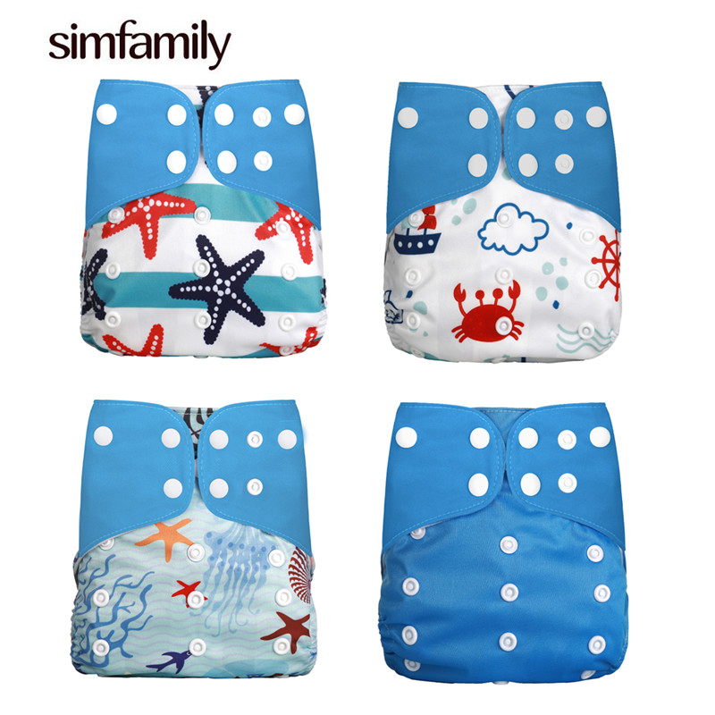 [simfamily] 2018 New 4pcs/set Adjustable Washable Cloth Diaper Cover Nappy Reusable Cloth Diapers Available 0-2years 3-15kg Baby