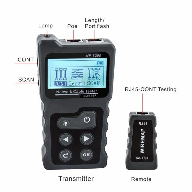 NOYAFA NF-8209 LCD Display Measure Length Lan Cable POE Wire Checker Cat5 Cat6 Lan Test Network Tool Scan Cable Wiremap Tester 3