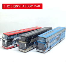1:32 High Simulation Double Sightseeing Bus Model Toy Cars Alloy Flashing Sound Vehicle Hot Sell Toys for Kids Children