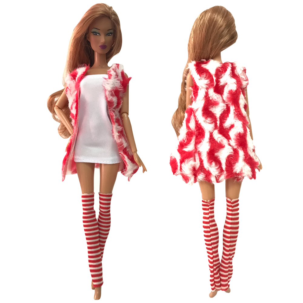 NK One Set  Doll  Dress Handmade Autumn Clothes Top Fashion Outfit Stocking For Barbie Doll Accessories Toy Gift 276A 10X