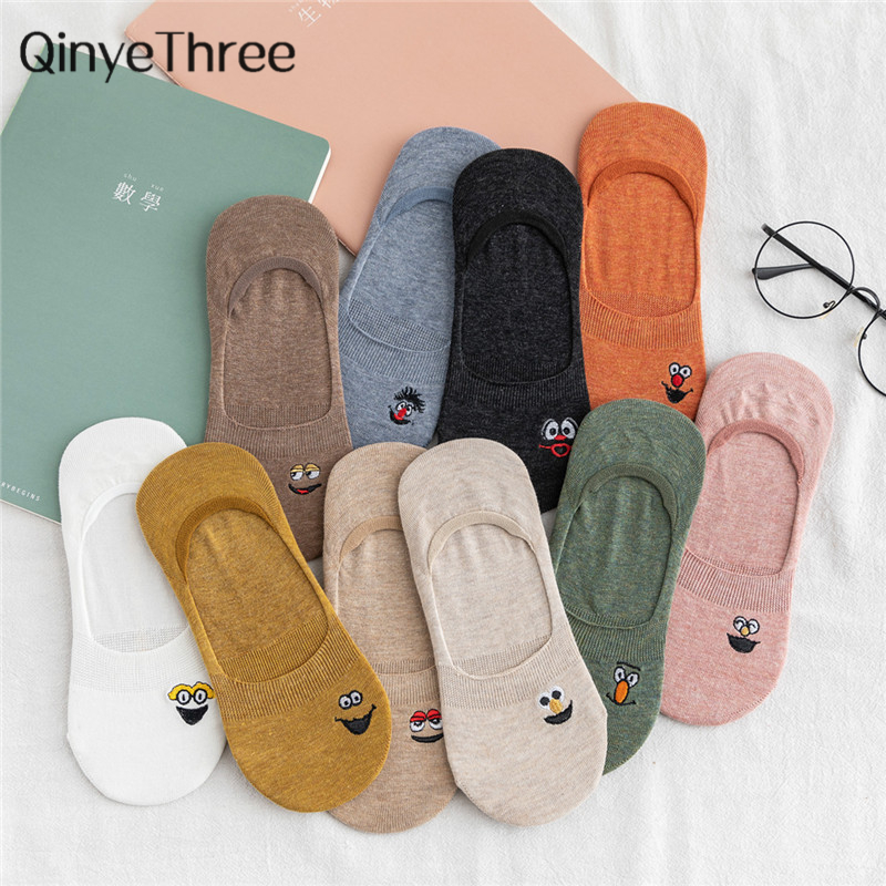 Embroidered Expression Woman Socks Cool Invisible Sock Slippers Women Summer Boat No Show Cotton 1 Pair Candy Color Dropship
