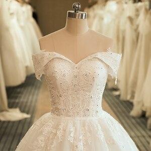 Image 4 - SL 5061 숄더 웨딩 신부 드레스 볼 가운 자수 레이스 applique Boho 웨딩 드레스 2020 noiva 플러스 사이즈 드레스