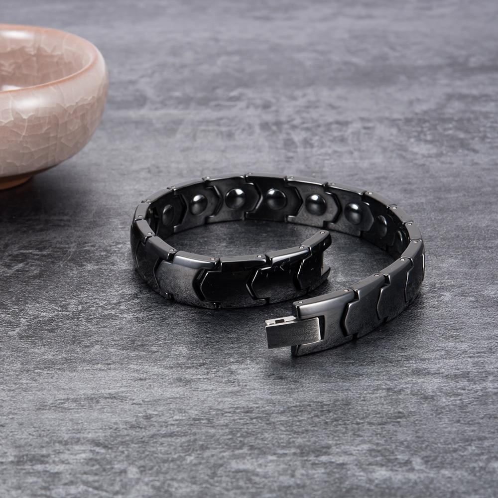 Vinterly Black Ceramic Bracelet Hand Chain Men Bracelet Healing Energy Magnetic Hematite Ceramic Bracelets Bangles for Men Women