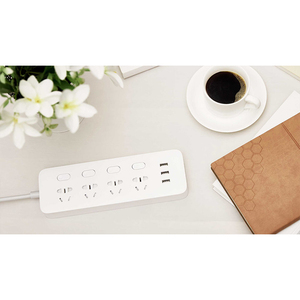 Image 4 - Original Xiaomi Mijia Power Strip 4 Sockets 4 Individual control Switches 5V/2.1A 3 USB port Extension Sockets Charger 2m cable