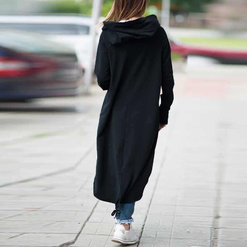 Das mulheres de Manga Comprida Com Capuz Trench Coat 2018 Outono Zíper Preto Plus Size 5XL Veludo Longo Casaco Sobretudo As Mulheres