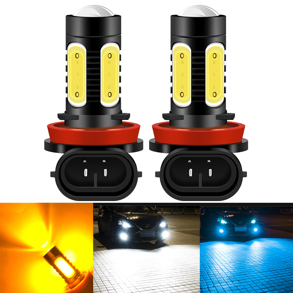 2 шт. H11 H8 H9 светодиодный противотуманный фонарь цвет: желтый, белый 9006/HB4 9005/HB3 H27 881 автомобильные лампы автомобильная Противо-Туманная светил...