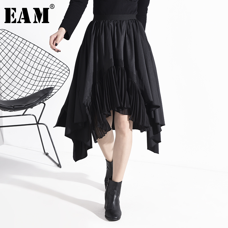 [EAM] High Elastic Waist Asymmetrical Pleated Black Temperament Half-body Skirt Women Fashion New Spring Autumn 2020 1N83401