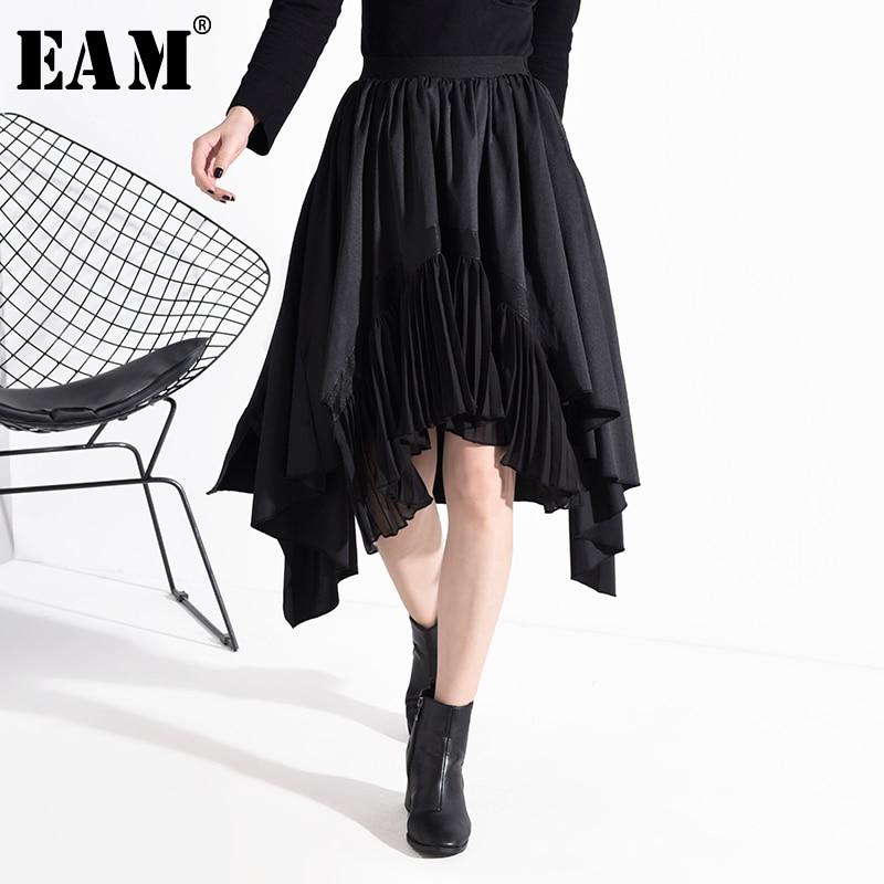 [EAM] High Elastic Waist Asymmetrical Pleated Black Temperament Half-body Skirt Women Fashion New Spring Autumn 2020 1N83401
