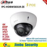Dahua IP Camera 8MP WDR IR IPC HDBW5831R ZE IP67 IK10 PoE H.265&H.264 2.7mm ~12mm motorized lens IR50m Micro SD card memory