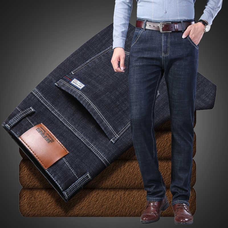 Jeans degli uomini di Jean Homme Skinny Inverno Dei Jeans Per Gli Uomini Pantaloni Spijkerbroeken Heren Nero Blu Biker Stretch Slim Fit Pantaloni