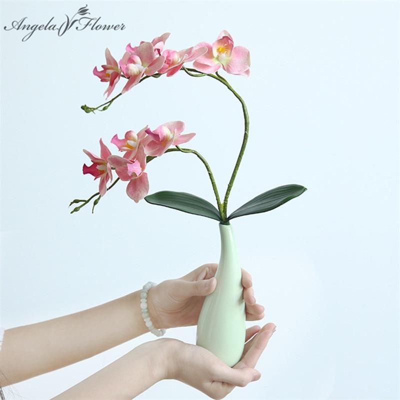Новинка, 2 ветки с листьями, фаленопсис, фотообои с орхидеей для домашнего рождественского декора, «сделай сам», свадебная дорога, свинцовый ...