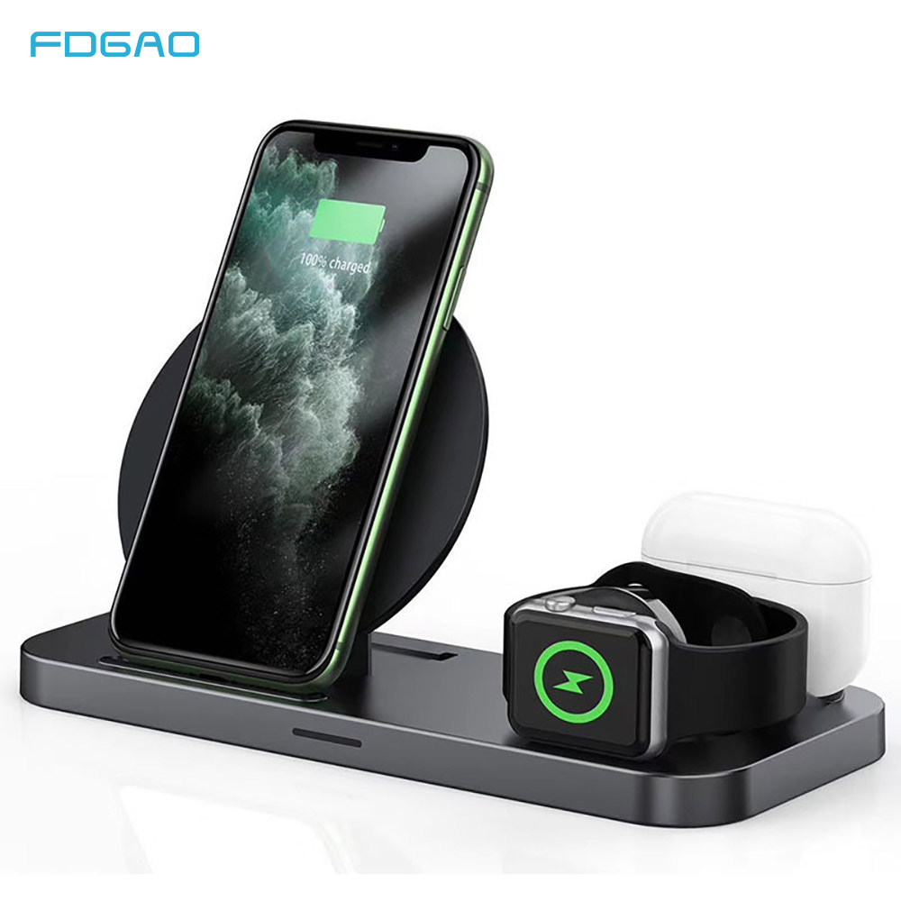 FDGAO 10W Schnelle Qi Drahtlose Ladestation Für Airpods Pro Apple Uhr <font><b>3</b></font> <font><b>in</b></font> <font><b>1</b></font> Lade <font><b>Dock</b></font> Station für iWatch <font><b>iPhone</b></font> 11 XS XR X 8 image