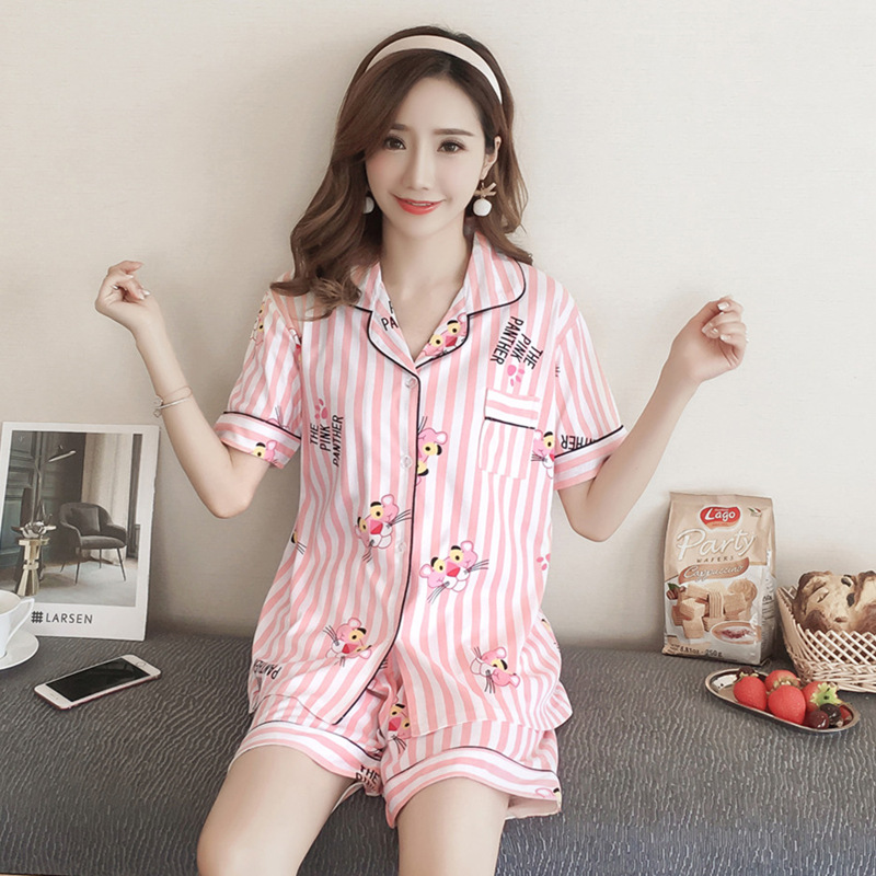 Cartoon Pink Panther Pajamas Women's Summer Short-sleeved Pure Cotton Cardigan Korean-style Princess Sweet Fresh Students Two-Pi