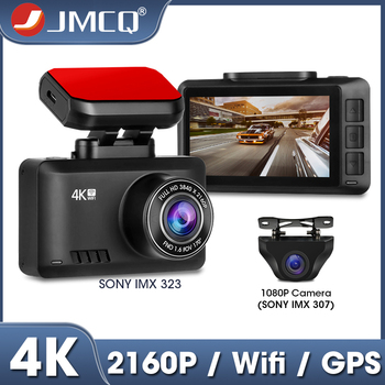 JMCQ Mini Dash cam 4K WIFI 2.45 Screen Ultra HD 3840*2160P Gesture Photo GPS Track Playback Registrar 1080P Rear camera Car DVR image
