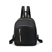 2019 Fashion Women black Nylon Backpack Preppy Style Casual  Travel Shoulder Bags Solid School Bag Bookbag