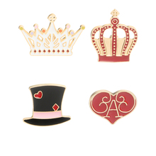 selling crown brooch new cartoon cute gentleman hat love jackets clothes pin backpack badge men and women jewelry