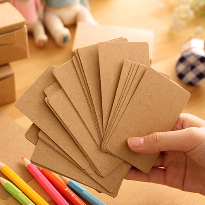 100pcs Double sided Blank Kraft Paper Business Cards Word Card Message Card DIY Gift Card New Year