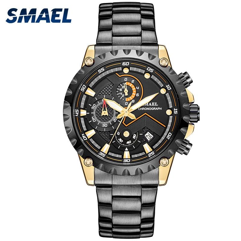 Relógio de Lazer Banda de Aço dos Homens Luz da Noite à Prova Smael Recreativos Negócios Dwaterproof Água Dial Quartz Core Men Relógio Masculino 9006