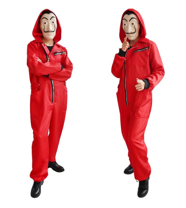 Movie La Casa De Papel Season Costume Money Heist Adult Child Halloween Cosplay Costume Salvador Dali Red Jumpsuit Suit