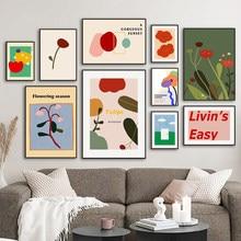 Coloré Illustration fleurs feuille nuage mur Art toile peinture nordique affiches et impressions photos murales pour salon décor