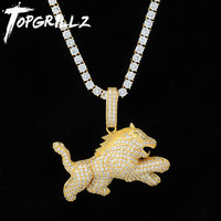 TOPGRILLZ Iced Out Cubic Zircon Bling Wolf Dog Animal Necklace & Pendant Men Women Hip Hop Rock Jewelry CZ Necklaces For Gifts