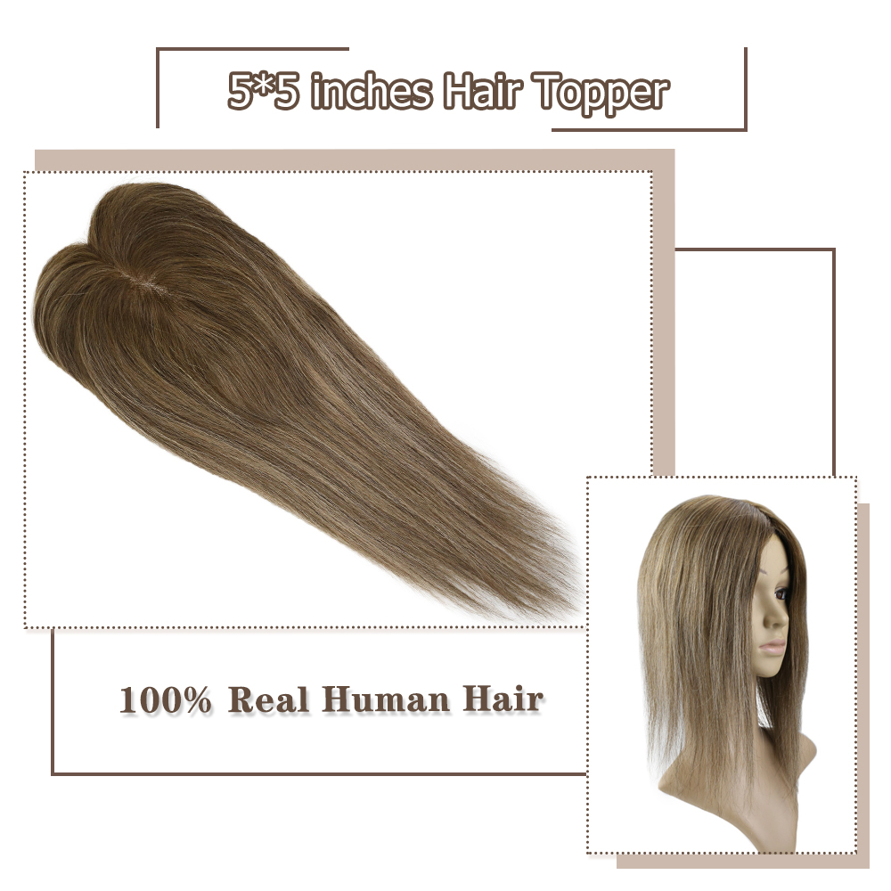 Moresoo Hair Topper Machine Remy Human Hair Toppers With Clips Brazilian Hair Toupee Women 5*5 Inch 8-18 Inch #4/27/4 Brown