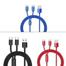 USB 2.0 Type A Male To Dual Type C USB C Male Splitter Y Charging Cable Cord for Samsung Huawei Xiaomi Oneplus HTC Mobile