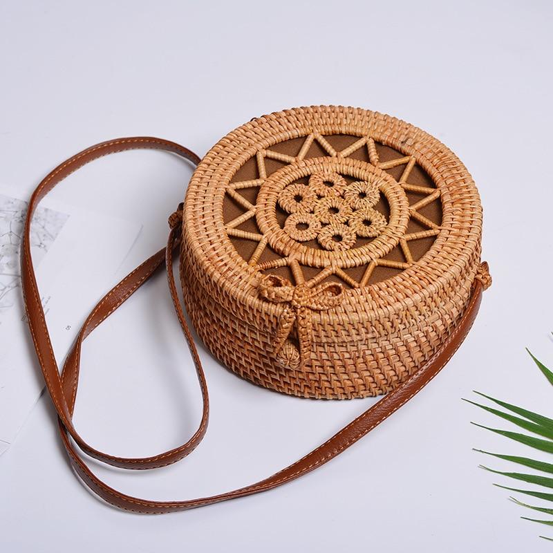 ¡Oferta! cesta de mimbre, cesta de mimbre, cesta tejida a mano de arte antiguo, siete pequeñas bolsas redondas de estrella de cinco puntas - 3