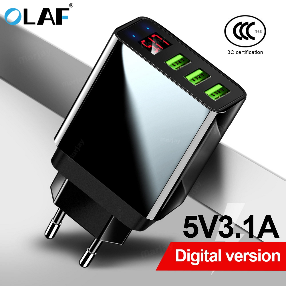 Olaf Wall-Adapter Turbo Led-Display 3-Usb-Charger Xiaomi IPhone Huawei P30 Samsung Fast