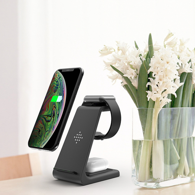 QI 10W Fast Charge 3 In 1 Wireless Charger For Iphone 11 Pro Charger Dock For Apple Watch 5 4 Airpods Pro Wireless Charge Stand 1