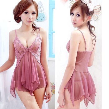 Hot Sale Pink Women Lace Lingerie Nightwear Underwear Sexy Dress