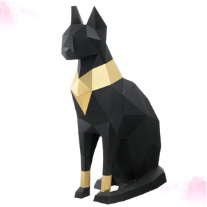 Egyptian Cat 3D Stereoscopic Paper Model DIY Hand Molded Decoration Ornaments Toys Three-dimensional Geometric Origami Black (Bl