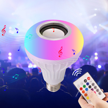 цена на Smart Audio Speaker Music LED Light E27 12W Bulb RGB Light  Wireless Bluetooth Playing Dimmable Lamp with 24 Key Remote Control