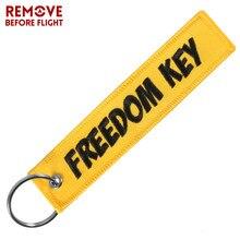 Liberdade chaveiros para carros amarelo bordado chaveiro para aviação presentes remover antes do vôo moda chaveiro jóias