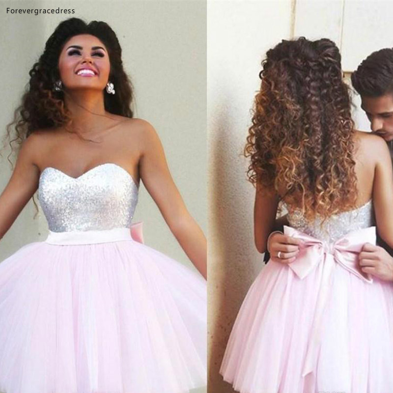 Short Prom Dress A-Line Sequins With Bow Sweet 15 Graduation Cocktail Party Dress Plus Size Custom Made