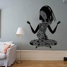 Buddha Meditation Wall Stickers Yoga Studio Decor Relaxation Pregnant Woman Removable PVC Art  Pose W700