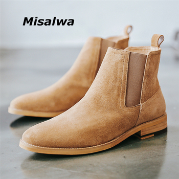 Misalwa Authentic Pure Leather Cow Suede Pointy Men Chelsea Boots Luxuries British Spring Vintage Ankle Brown Sand Boots Men
