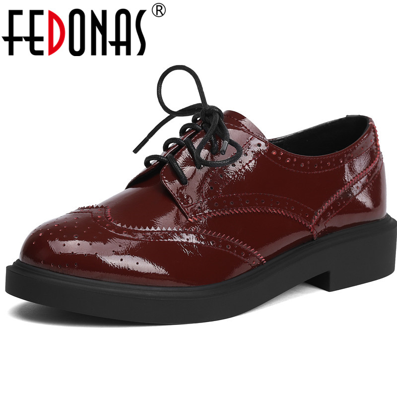 FEDONAS Women Pumps Patent Leather Casual Shoes Basic Shoes Spring Summer Lace Up Slip On New Arrival 2020 Shoes Woman