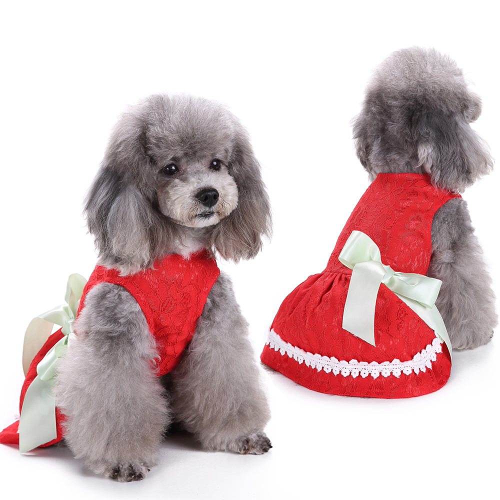 Fashion Dog Mini Skirt Hollow Bow Vest Dress Embroidered Pet Princess Cute Clothes Red Lace D40