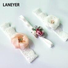 Biała koronkowa kokarda z kryształami kwiat dla dzieci opaski dla dziewczynki elastyczne akcesoria dla dzieci nakrycia głowy dla dzieci noworodka hairbands zdjęcie rekwizytu