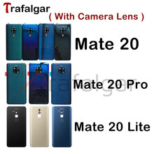 Pour Huawei Mate 20 couvercle de batterie arrière Mate20 Pro panneau de verre arrière pour Huawei Mate 20 Lite boîtier de porte arrière + objectif de lappareil photo