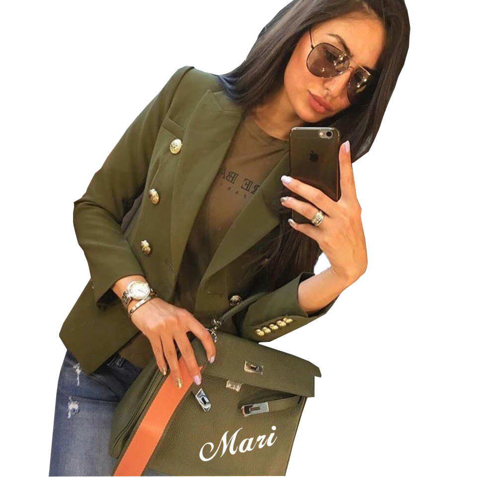 TAOVK Women Chic Blazer Buttons Design Long Sleeve Office Wear Coat Solid Female Outerwear Tops