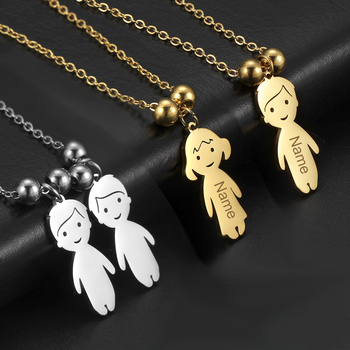 Personalized Necklace Name Date Child Family Jewelry Engraved Custom Stainless Steel Gold Color Boy Girl Kid Pendant Women Beads - discount item  10% OFF Customized Jewelry