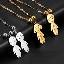 Personalizado pingente colar nome data criança presente da família jóias gravado personalizado de aço inoxidável cor ouro menino menina garoto mulher