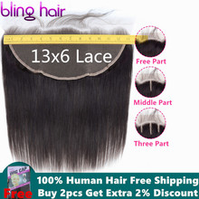 Bling Hair 13x6 Lace Frontal Ear to Ear Closure Brazilian Straight Hum